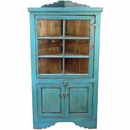 Painted Wood Blue Corner Cabinet with Glass