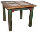 Square Painted Wood Dining Table with Inset Tile
