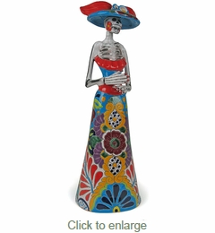 Medium Talavera Catrina Skeleton Statue