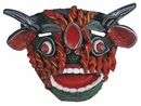 Painted Clay Hyena Mask