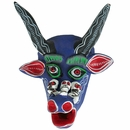 Small Painted Clay Straight Horned Bull Mask