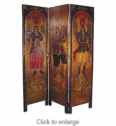 Room Divider Screen with Folk Art Religious Scene