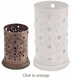 Small Aged Tin Mexican Luminaria - Set of 2