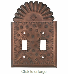 Double Mexican Tin Switch Plates - Flower & Crown