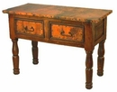 French 2-Drawer Wood Console with Copper