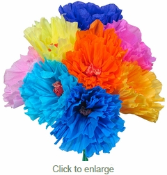 Traditional Mexican Paper Flowers - Bouquet of 12