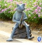 Frog Bluesman With Bluetooth Speaker Garden Sculpture by SPI Home
