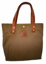 White Wing Leather & Canvas Medium Tote (Green)