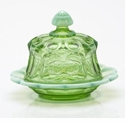 Mosser Glass Cherry Butter Dish - Green Opal