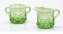 Mosser Glass Cherry Sugar Bowl - Green Opal