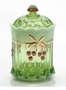 Mosser Glass Cherry Tobacco Jar - Green Opal Decorated