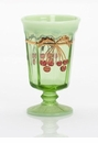 Mosser Glass Cherry Goblet - Green Opal Decorated