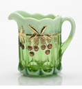 Mosser Glass Cherry Pitcher - Green Opal Decorated