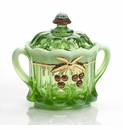 Mosser Glass Cherry Cracker Jar - Green Opal Decorated