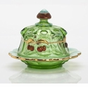 Mosser Glass Cherry Butter Dish - Green Opal Decorated