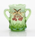 Mosser Glass Cherry Spooner - Green Opal Decorated