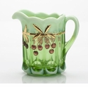 Mosser Glass Cherry Creamer Pitcher - Green Opal Decorated
