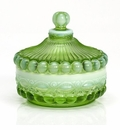 Mosser Glass Eye Winker Covered Candy Dish - Green Opal