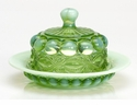 Mosser Glass Eye Winker Butter Dish - Green Opal