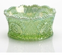 Mosser Glass Diamond Bowl - Green Opal Carnival