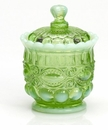 Mosser Glass Eye Winker Sugar Bowl - Green Opal