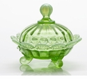 Mosser Glass Footed Covered Candy Dish - Green Opal
