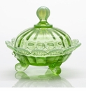 Mosser Glass Footed Fruit Bowl - Green Opal