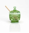 Mosser Glass Eye Winker Honey Jar - Green Opal