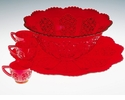 Mosser Glass Daisy & Button Punch Plate - Red