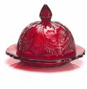 Mosser Glass Thistle Butter Dish - Red