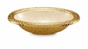 "Julia Knight Florentine 8"" Oval Gold Bowl - Snow"