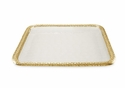 "Julia Knight Florentine 15"" Square Gold Tray - Snow"