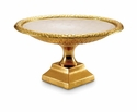 "Julia Knight Florentine 12"" Pedestal Gold Bowl - Snow"