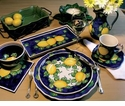 "Skyros Designs Mediterranean Rectangular Tray 13.5"" x 7"" - Blue Lemon"