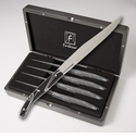 Fortessa Stainless Steel Proven�al Steak Knife (Black Topo Handle) 4 Piece set in box