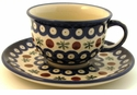 Boleslawiec Polish Pottery Cup & Saucer Set - Design 41A