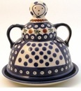 Boleslawiec Polish Pottery Cheese Lady Dish - Design 41A
