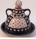 Boleslawiec Polish Pottery Butter Lady Butter Dish - Design 41A