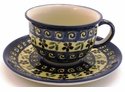 Boleslawiec Polish Pottery Cup & Saucer Set - Design 175A