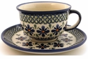 Boleslawiec Polish Pottery Cup & Saucer Set - Design DU60