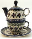 Boleslawiec Polish Pottery Tea for One Teapot - Design DU60
