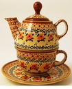 Boleslawiec Polish Pottery Tea for One Teapot - Design DU70
