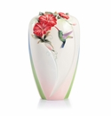 Franz Porcelain Morning Glory And Hummingbird Large Vase