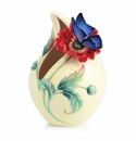 Franz Porcelain Sweetheart Poppy And Butterfly Small Vase