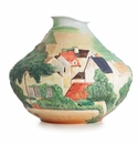 Franz Porcelain Realm of Dreams Landscape At Auvers Sculptured Porcelain Mid Size Vase (Inspired By Paul Cezanne)