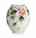 Franz Porcelain Collection Clematis Flower Design Sculptured Porcelain Small Vase
