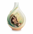 Franz Porcelain Collection Safari Jungle Beauties Hippo/Baby Design Sculptured Porcelain Mid Size Vase