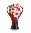 Franz Porcelain Collection Pink Poppy Design Sculptured Porcelain Mid Size Vase