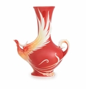 Franz Porcelain Collection Phoenician Flight Bird Design Sculptured Porcelain Mid Size Vase