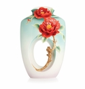Franz Porcelain Collection Red Camellia Design Sculptured Porcelain Mid Size Vase